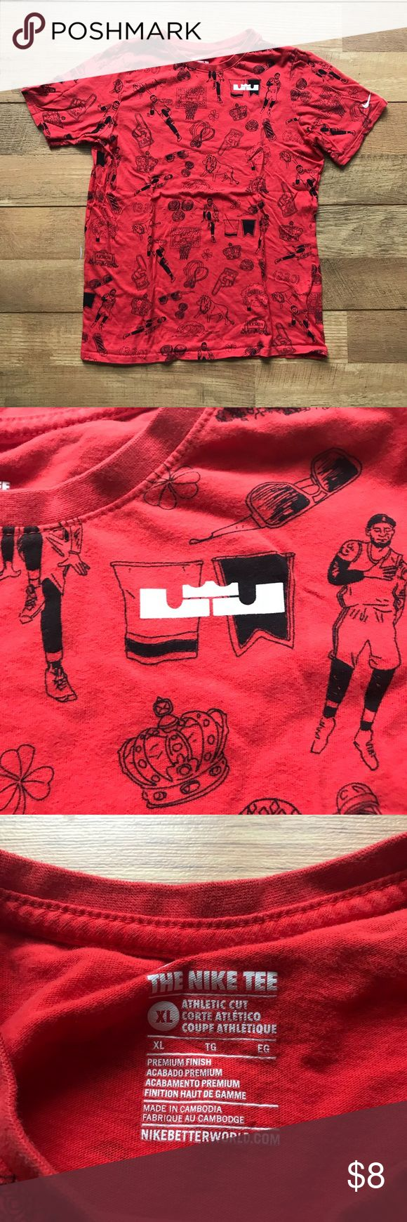 Nike Lebron James shirt Red with black design • some wash wear Nike Shirts & Tops Tees - Short Sleeve