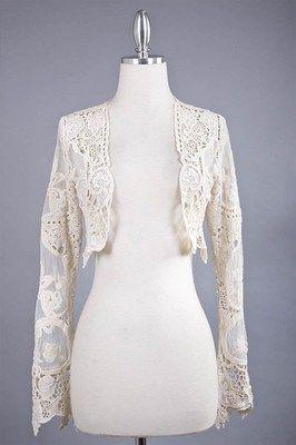 Vintage Style Victorian Lace Cardigan Cropped Shrug Bolero Jacket Ivory NEW M