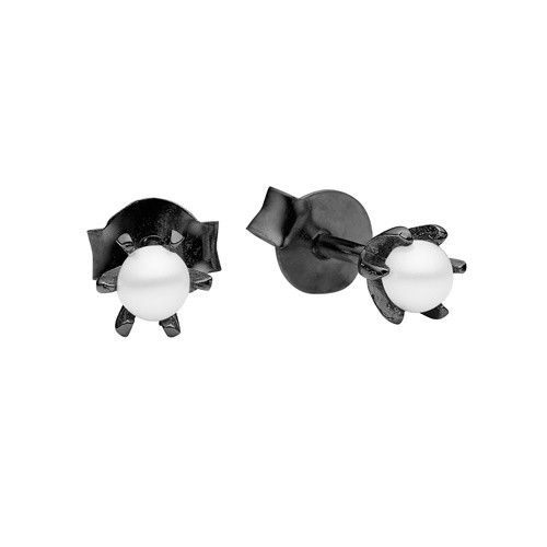 Stud, petit pearl, white, black plated sterling silver