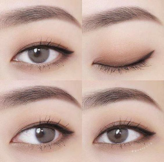 Dark to light on upper lid and light shadow under eye