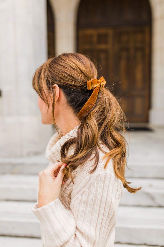 J. Crew Velvet Hair Tie in Brandy via Peaches In A Pod blog. dbf188a307f