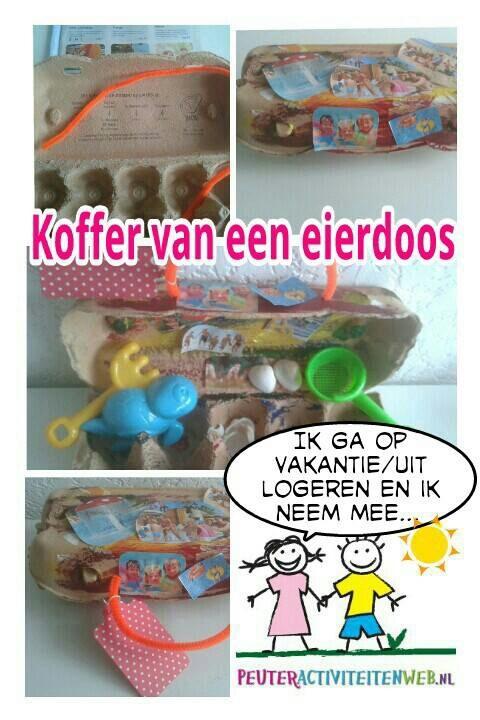 Een koffer van een eierdoosje. Je kan ook gebruik maken van een klein eierdoosje. www.peuteractiviteitenweb.nl