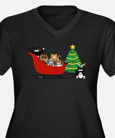 Cute sleigh ride kitties, Women's Plus Size V-Neck Dark T-Shirt