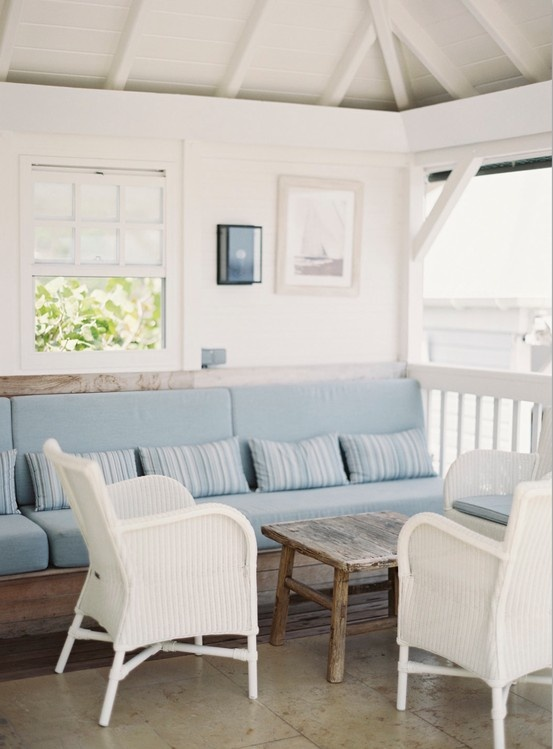 blue and white deck   Jen Huang Photo   Le Toiny St Barths   outdoor bench seating
