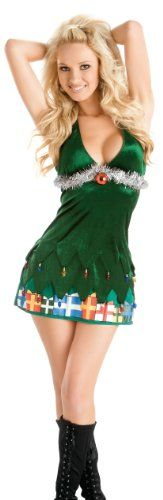 Amazon.com: Escante Junior's Oh Christmas Tree Halter Dress,Green/Silver,X-Large: Clothing    Not sure about the halter top on this one, would need to wear something underneath.  But I love the concept.  $34 with shipping