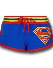 Superman Women's Striped Logo Short Shorts