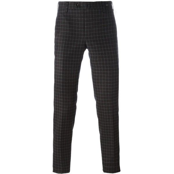 Pt01 Checked Skinny Fit Trousers (14,870 INR) ❤ liked on Polyvore featuring men's fashion, men's clothing, men's pants, men's dress pants, mens skinny dress pants, mens brown dress pants, mens super skinny dress pants, mens skinny pants and mens checkered pants