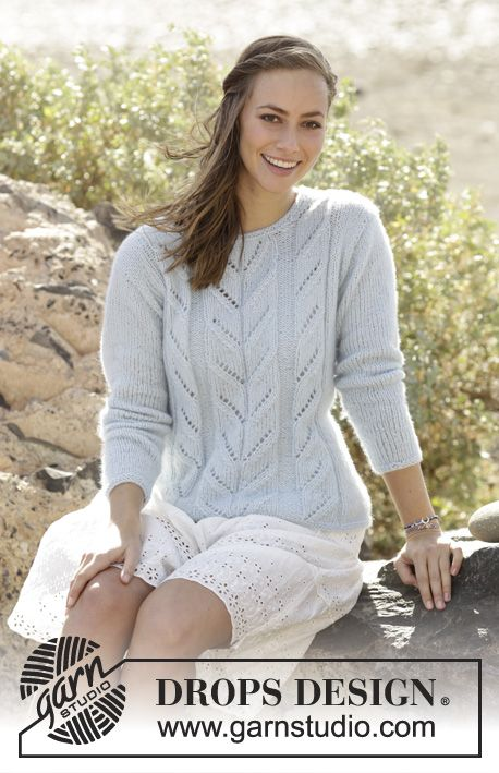 Summer Sky / DROPS 177-27 - Knitted jumper with lace pattern in DROPS Air. Sizes S - XXXL.