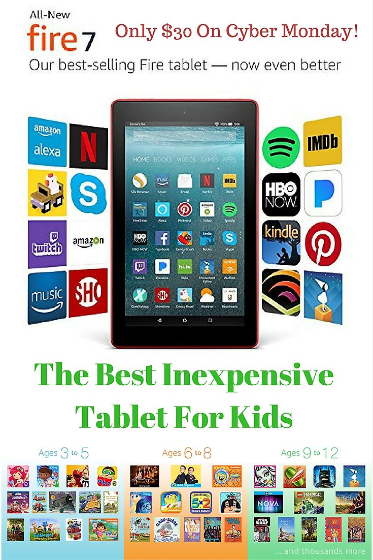 The Amazon Fire Tablet is the best inexpensive tablet for kids. With Amazon Free time and more it is the perfect Christmas gift for kids of all ages