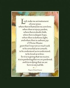 The Saint Francis Prayer brings its loving, peaceful guidance to all in this beautiful hand-lettered print designed by Sherrie Lovler. With the look of torn paper against an abstracted landscape, this print makes a lovely gift, and a joy to read over and over. http://shop.inkmonkey.com/st-francis-prayer-p/10501.htm
