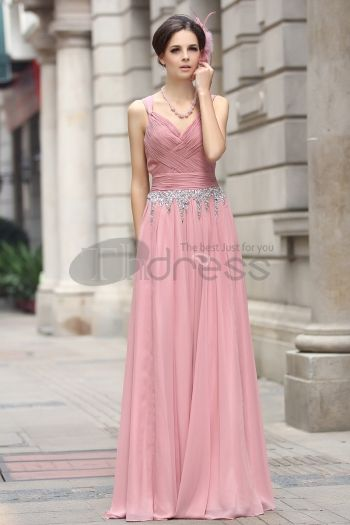 Abiti in Magazzino-Cinturino in chiffon di perline abito da sera rosa