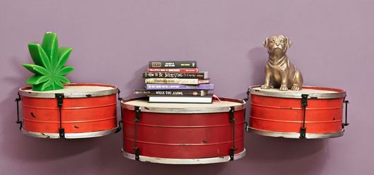 Old drum repurposed as a shelf