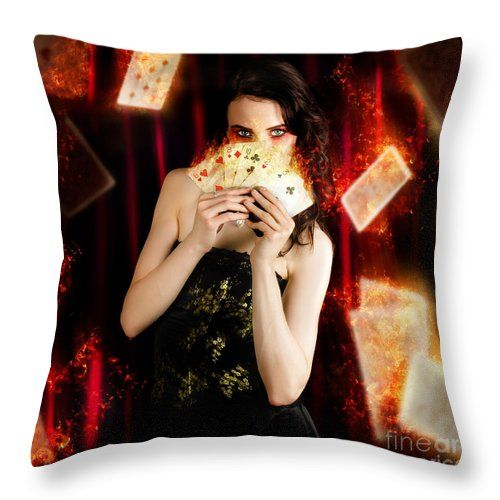 Act Throw Pillow featuring the photograph Tarot Magician Holding Magic Fire Cards Of Fate by Jorgo Photography - Wall Art Gallery