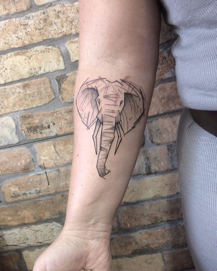 Sketch style elephant with dotwork accent
