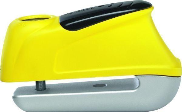 ABUS ηλεκτρονική κλειδαριά δισκοφρένου Trigger 345 Yellow κατασκευασμένη από ειδικά κατεργασμένο ατσάλι, με πείρο 5 mm και ηχητική ειδοποίηση (σειρήνα 110db). Ο χειρισμός γίνεται και με το ένα χέρι, ακόμα και αν φοράτε γάντια (push button για όπλιση και το κλειδί γυρνάει μόνο του στην αρχική θέση). Διαθέτει τσαντάκι μεταφοράς. Maximum Protection Level 7.