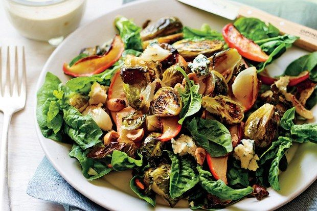 Roasted Brussels Sprout and Apple Salad recipe | Epicurious.com   – lunch