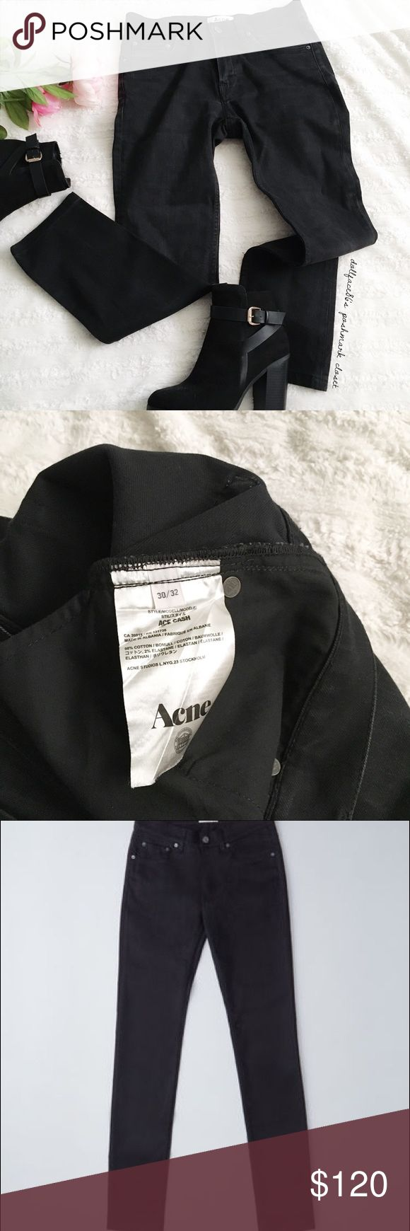 """Acne Black Cash Ace Jeans ✦   ✦  ❥waist:15"""" ❥hips:18""""  ❥length:38"""" rise:10.5"""" ❥inseam:26.5"""" ankle:6.5"""" ➳cotton+2%elastane/machine wash  ➳fit:the sizing on these are kind of crazy, the tag says 30/32, but in my opinion they fit like a women's size 2 ➳condition:gently used, but has some distressing not a perfect matte black  ✦20% off bundles of 3/more items ✦No Trades  ✦NO HOLDS ✦No lowball offers/sales are final  ✦‼️BE A RESPONSIBLE BUYER PLS ASK QUESTIONS/USE MEASUREMENTS Acne Jeans Skinny"""