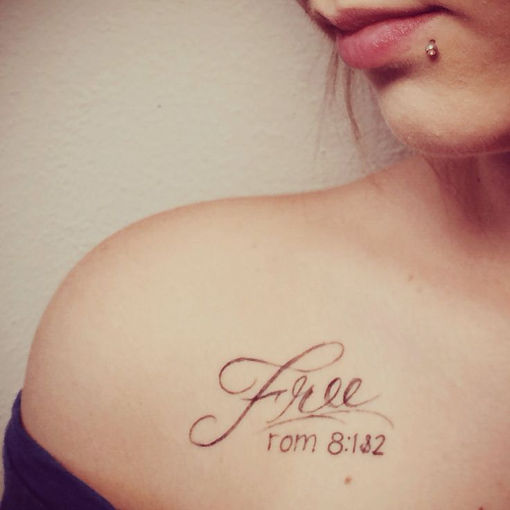 I'm free from the past, free from guilt, free from shame, and free from condemnation. I'm free with a freedom that can only be found in Christ. Christianity is not about being bound by a set of biblical rules; it's  about being set free.   Therefore there is now no condemnation for those who are in Christ Jesus, because through Christ Jesus, the law of the Spirit who gives life has set you free from the law of sin and death. Romans 8:12 #collarbone #tattoo #freedom #free #words #verse…