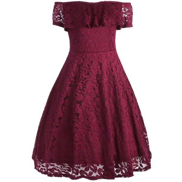Wine Red 2xl Floral Ruffle Lace Off Shoulder Dress ($16) ❤ liked on Polyvore featuring dresses, purple dress, vintage dresses, red lace dresses, floral dresses and red dress