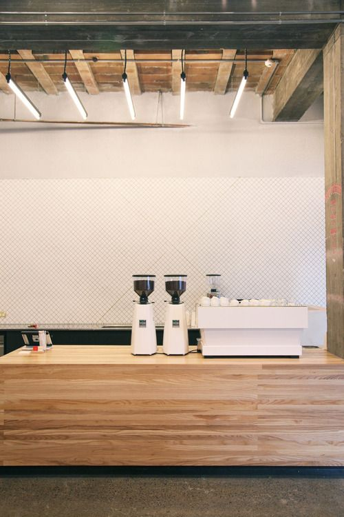 Cafe inspiration - Timber, vivid white and deep olive flooring