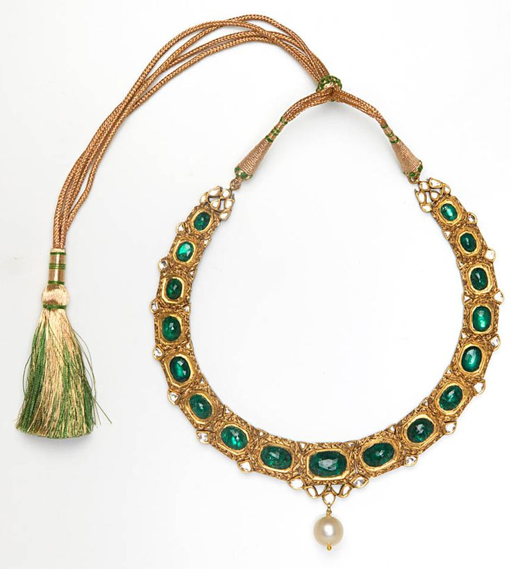 Amrapali yellow gold, Zambian emerald and diamond tassel necklace with central pearl briolette.
