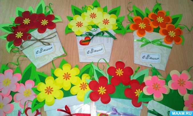 Открытки для бабушек на 8 марта в детском саду