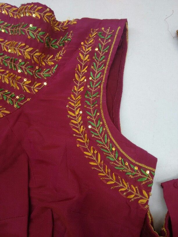 Simple hand embroidery blouse designs best