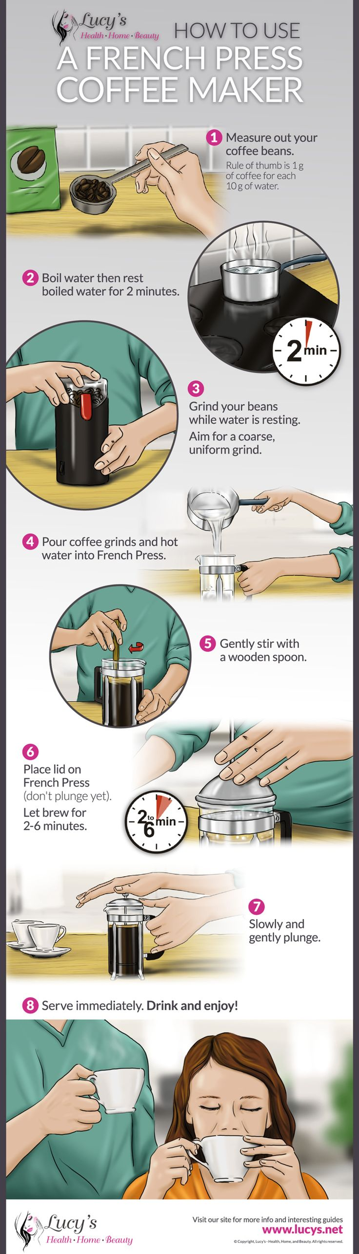 Learn how to plunge like a pro and make the perfect French Press Coffee. We have step by step instructions to guide you on how to use your French Press Coffee Maker to perfection. Visit: https://www.lucys.net/best-french-press-coffee-maker-reviews/