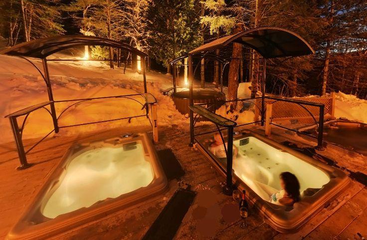 Spas extérieurs de nuit l'hiver – Hotel Spa Watel