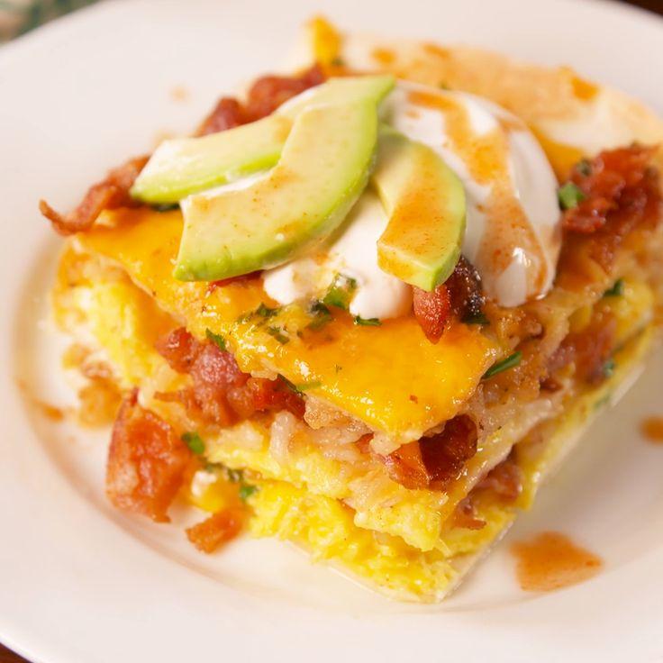 Dive into layers of your favorite breakfast foods. #food #breakfast #brunch #easyrecipe #comfortfood