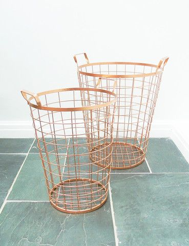 Copper Wire Baskets | Vintage Industrial Accessories | thedenandnow.co.uk | Warehouse Home Design Magazine