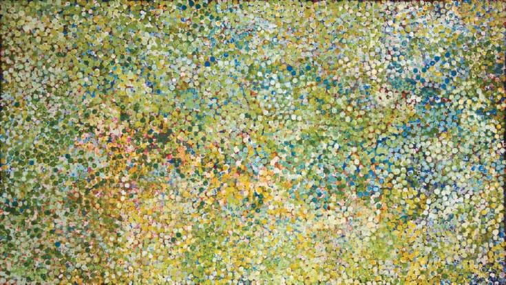 From the collection of Ron and Rona Clarke.  Summer Rains on Alalgura. Emily Kngwarreye.  Beautiful.