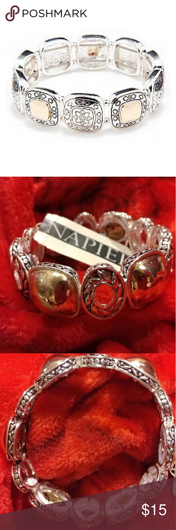 Napier Stretch Bracelet   Two tones This two tone stretch bracelet is a distinctive blend of gold-tone and silver-tone. With its featured etched design, this stretch bracelet is sure to be an everyday favorite.  7.8-in. L  Slip-on  Polished finish  Two-tone metal  Imported napier Jewelry Bracelets