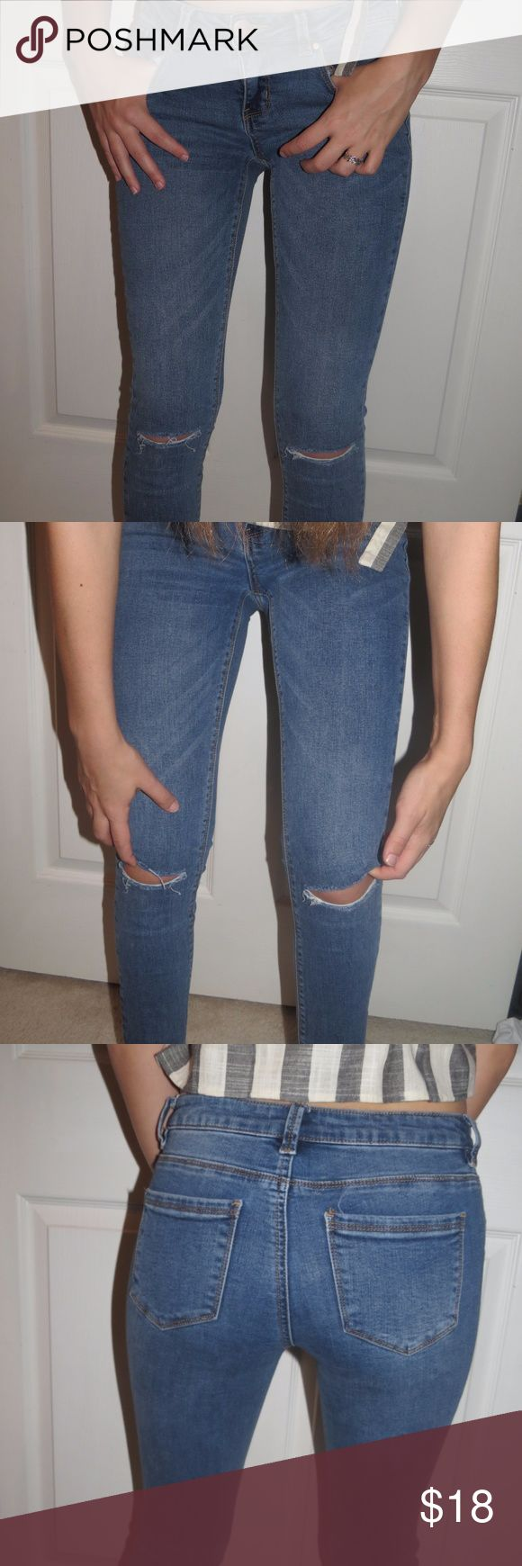 Ankle Cutoff Jeans These jeans are low rise, cutoff at the ankle, and have slits in the knees. I did not cut these jeans at all, they were made this way! Love Fire Jeans Ankle & Cropped