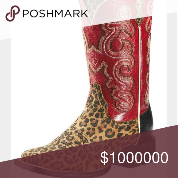 ISO ARIAT BOOTS!! I'm looking for these ariat quickdraw cowboy/ cowgirl square toe boots with leopard print and red!! Lookin for a pair with a lot of life left in them (: womens size 7.5 or I'll even take a size 8!  Tags- ariat, justin, cowboy cowgirl boots, rodeo boots, corral boots, leopard print, cheetah print, western boots, buckle, miss me,  Rock & Roll cowgirl, Rock revival, vs pink, victoria's secret, daytrip, bke, gimmicks Ariat Shoes