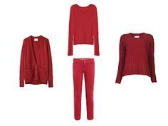 Lest you thought that red was not going to work with warm colors...            Cardigan – La Garconne, shirt – Rag & Bone, jeans – MiH, sw...