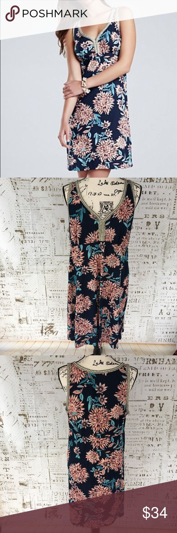 Lucky Brand Eastern Dress sz XL Lucky Brand Eastern Dress sz XL, excellent condition barely worn, cotton, v-neck, floral print with metallic trim, navy blue, pit to pit 20 inches, waist flat laying 18 inches, length 38 inches. Lucky Brand Dresses