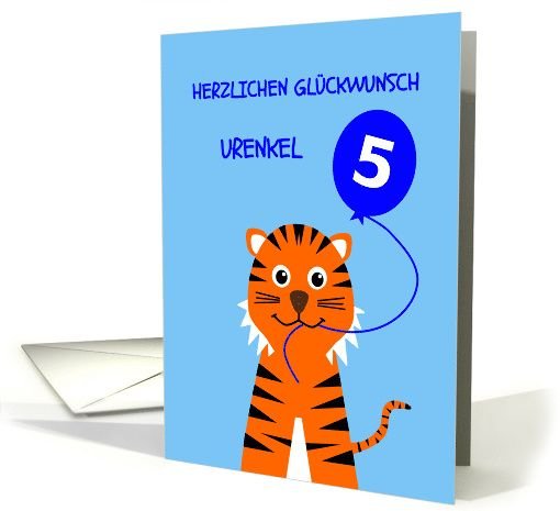 Herzlichen Glückwunsch Urenkel - Happy Birthday Great Grandson, a special birthday card in german for a nephew, with a smiling tiger design
