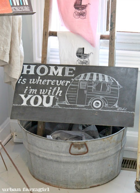 This is something my husband says all of the time and I believe him, be it a camper, a trailer, an apartment or the cabin in the woods we would like to be in, home is wherever he is. To Glenn my light in the dark.: Chalkboards, Trailers, Chalkboard Art, Apartment, Camper Sign, Vintage Campers