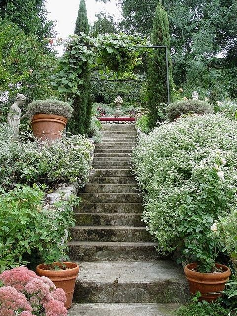 Lovely Garden Stairs. Backyard, ideas, garden, diy, bbq, hammock, pation, outdoor, deck, yard, grill, party, pergola, fire pit, bonfire, terrace, lighting, playground, landscape, playyard, decration, house, pit, design, fireplace, tutorials, crative, flower, how to, cottages.