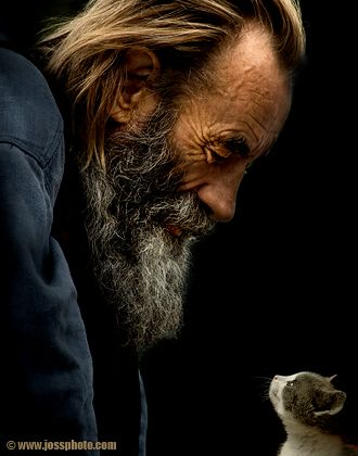 """""""Contact"""" by Iryna Smolych (aka Josephine Chervinska) ... Such a tender moment in time between cat and person, young and old, beard and whisker! ;) ... This sort of love -- the kind that you can see in the shared gaze -- is wonderful! <3"""