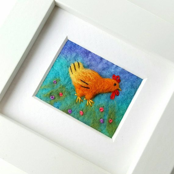 Check out this item in my Etsy shop - felted and embroidered by hand - hen picture https://www.etsy.com/uk/listing/502756168/felted-hen-original-artwork-fiber-art