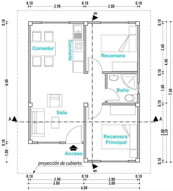 Resultado de imagen de planos de casas de interes social con medidas #cocinaspequeñasminimalistas #casasmodernasinteriores