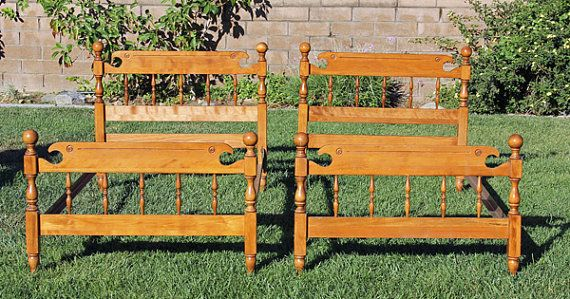 Hey, I found this really awesome Etsy listing at https://www.etsy.com/listing/204728545/two-2-matching-vintage-twin-wood-beds