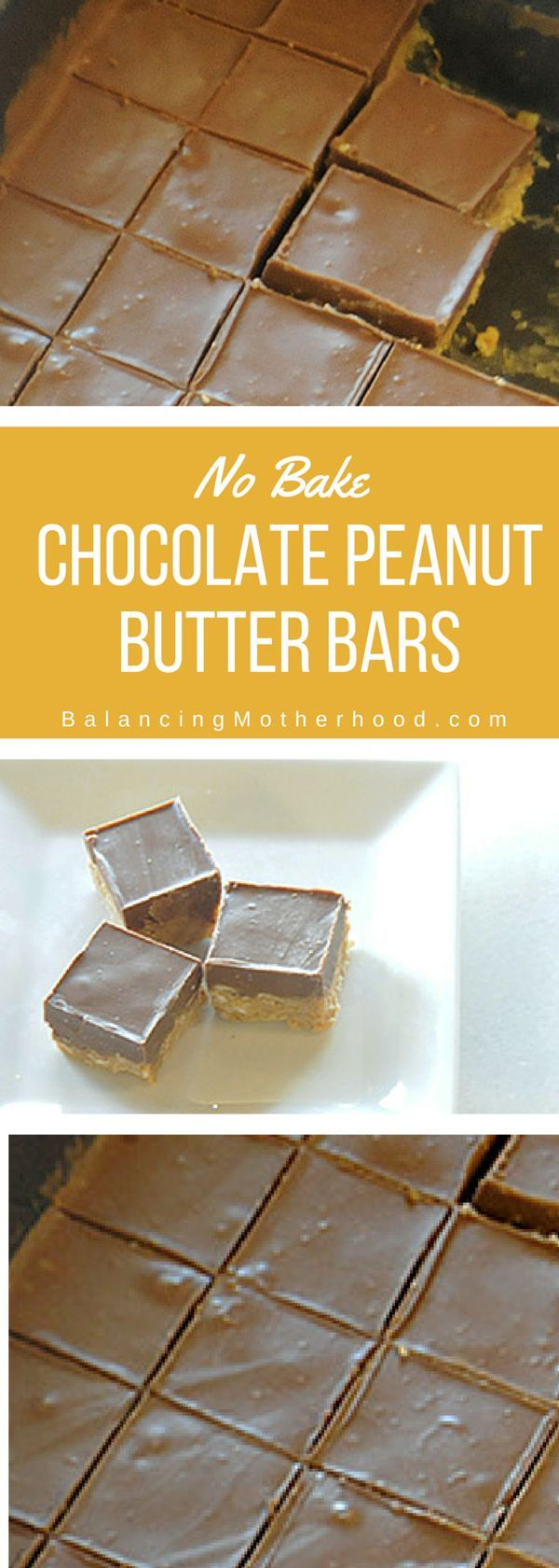 Simple no bake chocolate peanut butter squares.