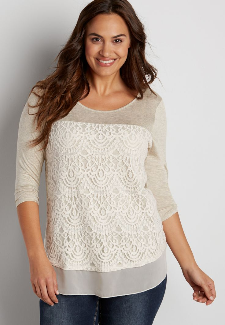 plus size tee with lace overlay and chiffon hem