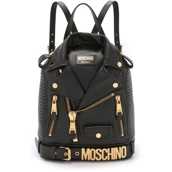 Moschino Motorcycle Backpack ($2,305) ❤ liked on Polyvore featuring bags, backpacks, bolsas, black, motorcycle bags, fold over backpack, knapsack, moschino backpack and black rucksack
