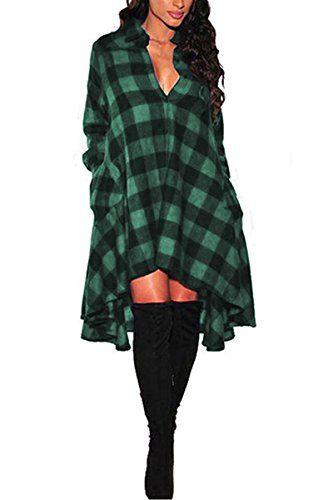 59bebf7447 YMing Women s Flannel Plaid Shirts Tops Casual Shirt Dres...