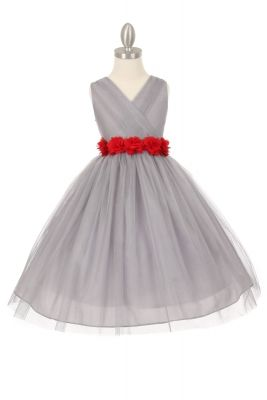 Girls Dress Style 1220 - SILVER Dress with 14 Sash Options
