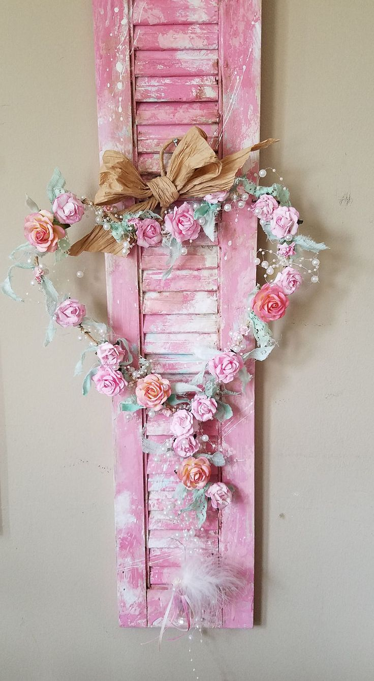 HEART- SHAPED Rose Wreath Door Wreath Valentine Wreath Shabby Cottage Nursery Decor Wall Decor Home Decor by TheVintageStories on Etsy